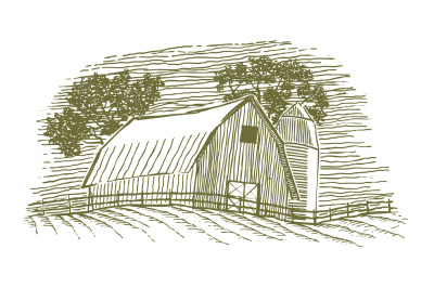 Woodcut Barn and Silo Icon