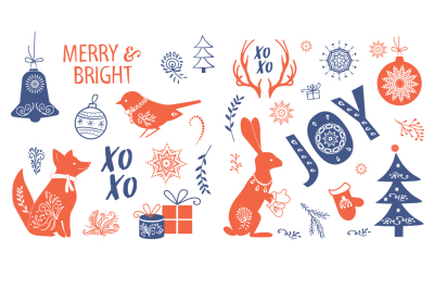 Christmas Clipart with cute animals