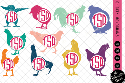 Chicken Svg, Monogram Svg, Circle Frames, Cuttable Design, Cut files
