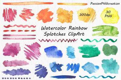 Watercolor Rainbow Splotches