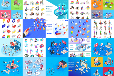 Isometric people and icons in marketing, education and VR banners