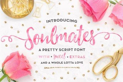 Soulmates Script Font + Gold Foils & Watercolors!