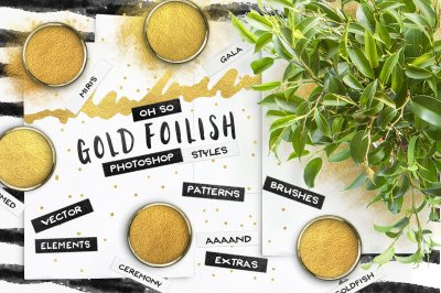 80 Gold Foil Layer Styles for Photoshop + Seamless Patterns & Extras!