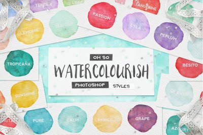90 Watercolor Photoshop Layer Styles + Seamless Patterns & Extras!