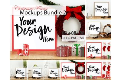 Christmas Frame Mockup Bundle Volume 02,PSD,PNG and JPEG File