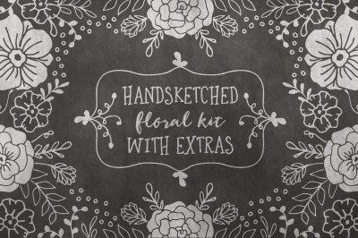 Hand Sketched Floral Kit + Gold Foil Extras!