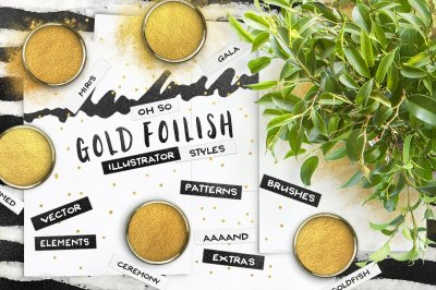 80 Gold Foil Swatches for Illustrator + Seamless Patterns & Extras!