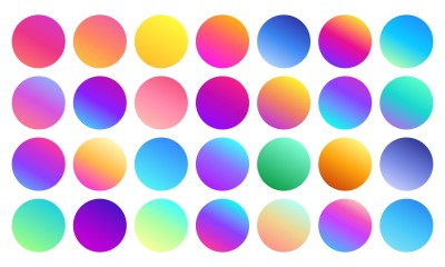 Vivid gradient spheres. Minimalist multicolor circles&2C; abstract 80s vi