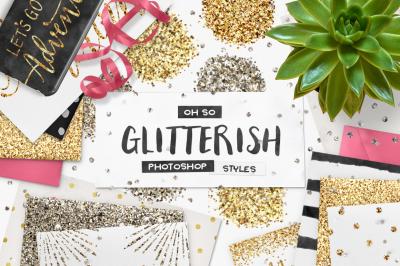 100 Glitter Photoshop Layer Styles + Bonus Vecor Patterns
