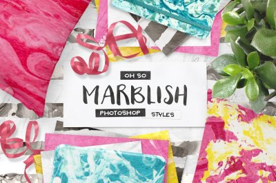 100 Photoshop Marble Paper Layer Styles!