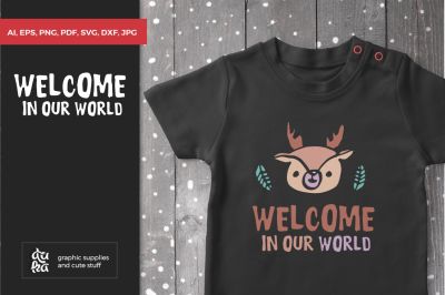 Baby Reindeer SVG, Christmas SVG, Welcome in our world, Scandinavian