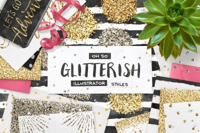 100 Glitter Illustrator Swatches + Bonus Vecor Patterns
