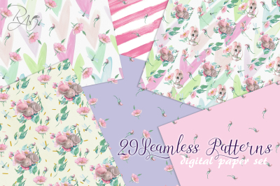 seamless pattern digital paper set with watercolor cute mouse sleeping