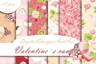 Valentine`s candy digital paper