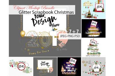 Glitter Scrapbook Christmas Clipart Mockup Bundle