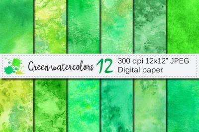 Green Watercolor Digital Paper / Hanpainted abstract texture