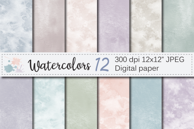 Neutral watercolor digital papers / Pastel textures, backgrounds