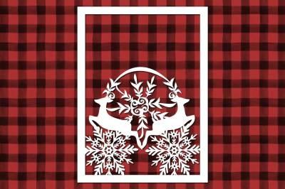Christmas Reindeer Snowflake cut file