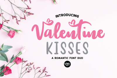 Valentine Kisses Hand Lettered Font Duo