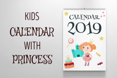 Kids calendar with princesses