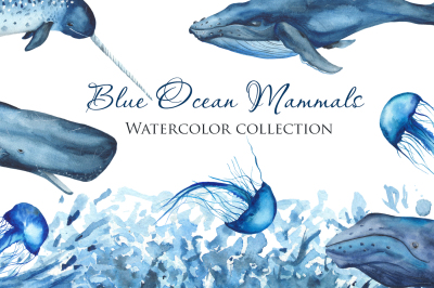 Blue Ocean Mammals. Watercolor collection.