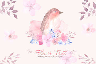 Flower Trill. Watercolor clipart