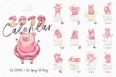 2019 Calendar with Pig