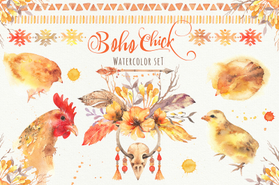 Boho Chick: Watercolor Cliparts