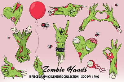 Zombie Hands Clip Art Collection