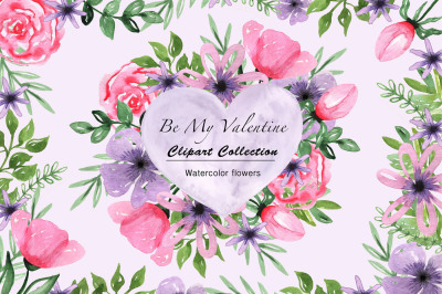 Valentine's Day Watercolor Clipart Collection