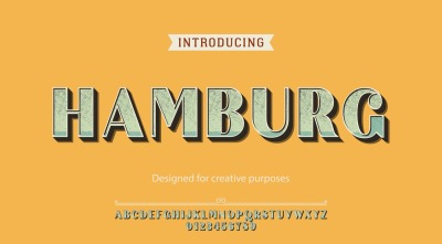 Hamburg typeface.For labels and different type designs