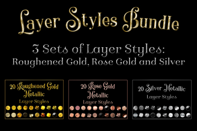 60 Layer Styles Bundle - Gold, Rose Gold and Silver