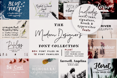 85% OFF! Best of Ana's Fonts Bundle + logo templates