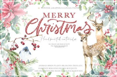 Merry Christmas Watercolor Graphics