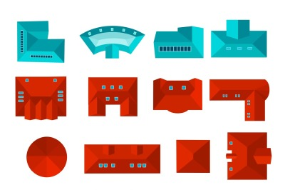 Top view of roof set isolated vector illustration.