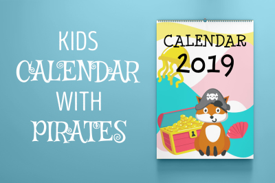 Kids calendar with animal pirates