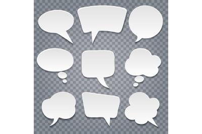 Paper cut speech bubbles set