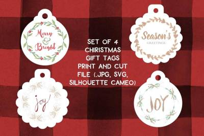 Christmas Gift Tag print and cut file