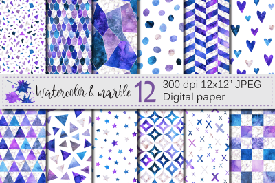 Watercolor and marble purple blue seamless patterns / digital paper