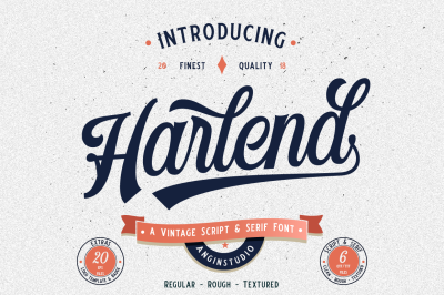 Harlend (6 fonts with extras)