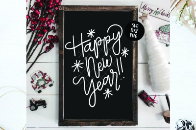 Happy New Year Hand Lettered SVG