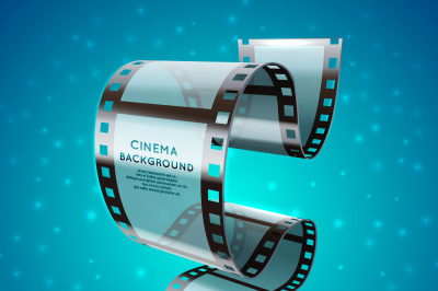 Abstract cinema retro poster with film strip roll, vector movie festiv