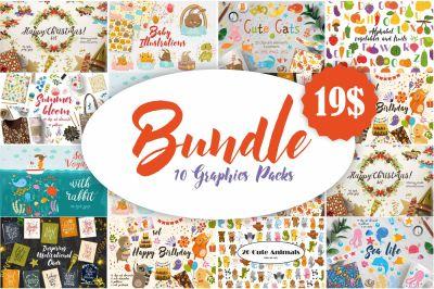BUNDLE.  10 Cute Graphics Packs
