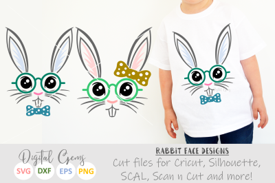 Rabbit Faces SVG / PNG / EPS / DXF Files