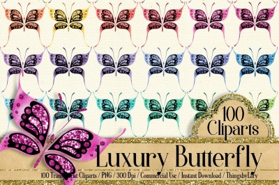 aa1be5ee09 Save · 100 Luxury Foil and Glitter Butterfly Clip Arts