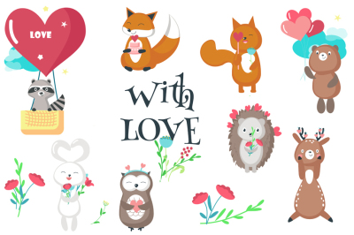 Cute animals romantic set & seamless patterns