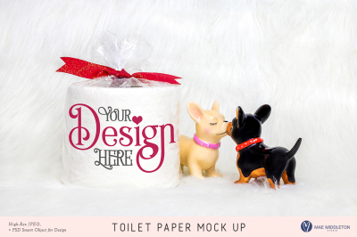 Toilet Paper Mock up for Valentine's day, Lovers stock photo
