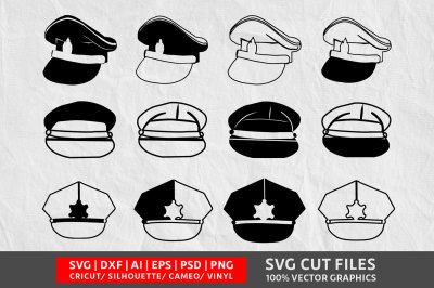 Police Cap SVG cut file