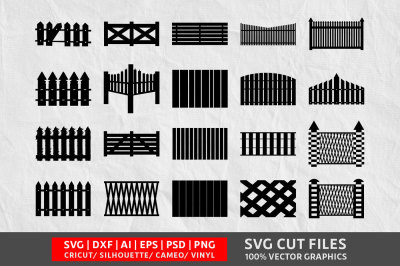 Wooden Fence SVG cut file
