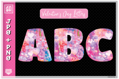Valentine's day letters set, Valentine's Alphabet 26 letters